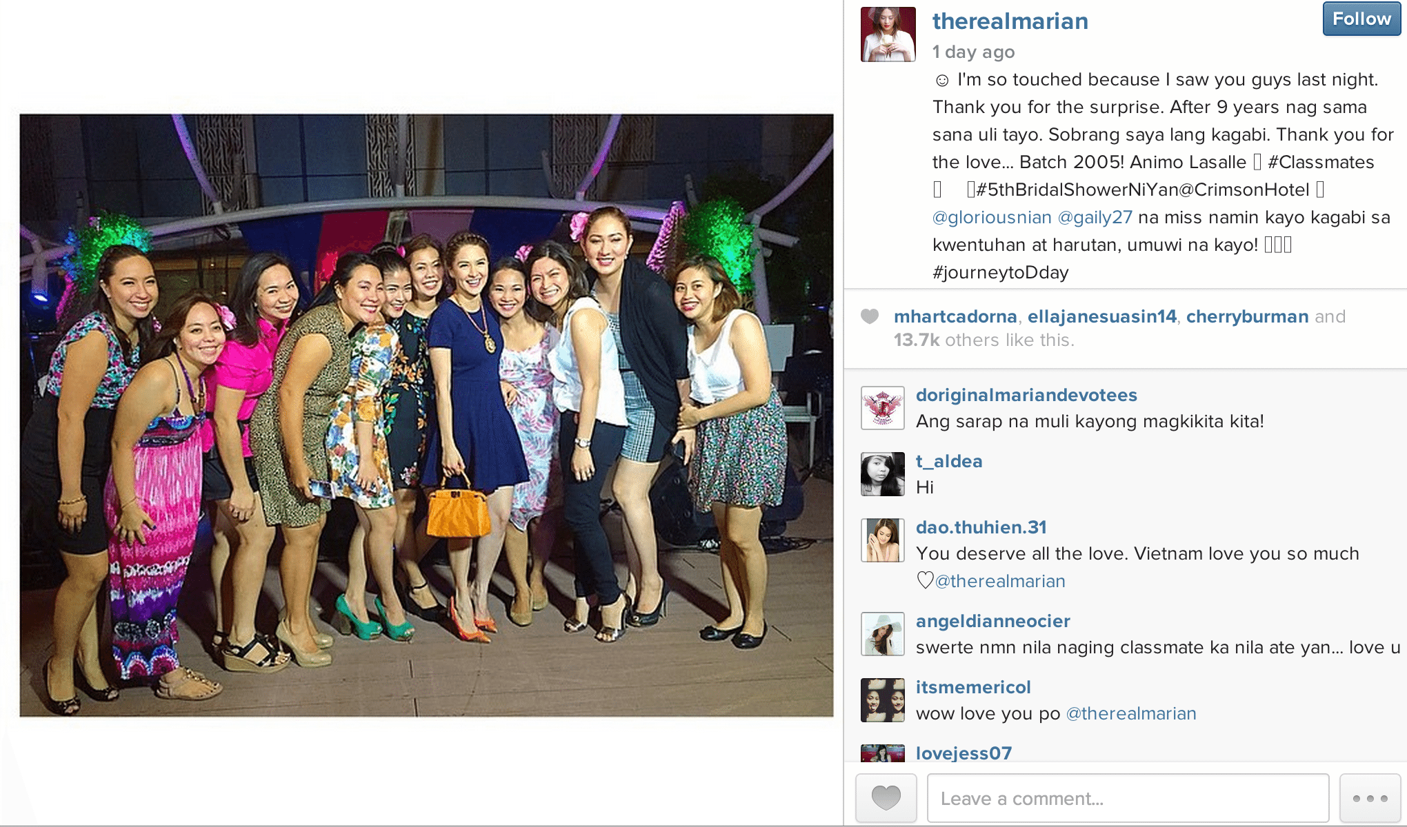 From @therealmarian's Instagram