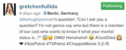 Hugh Jackman Chappie Gretchen Fullido Marital Status