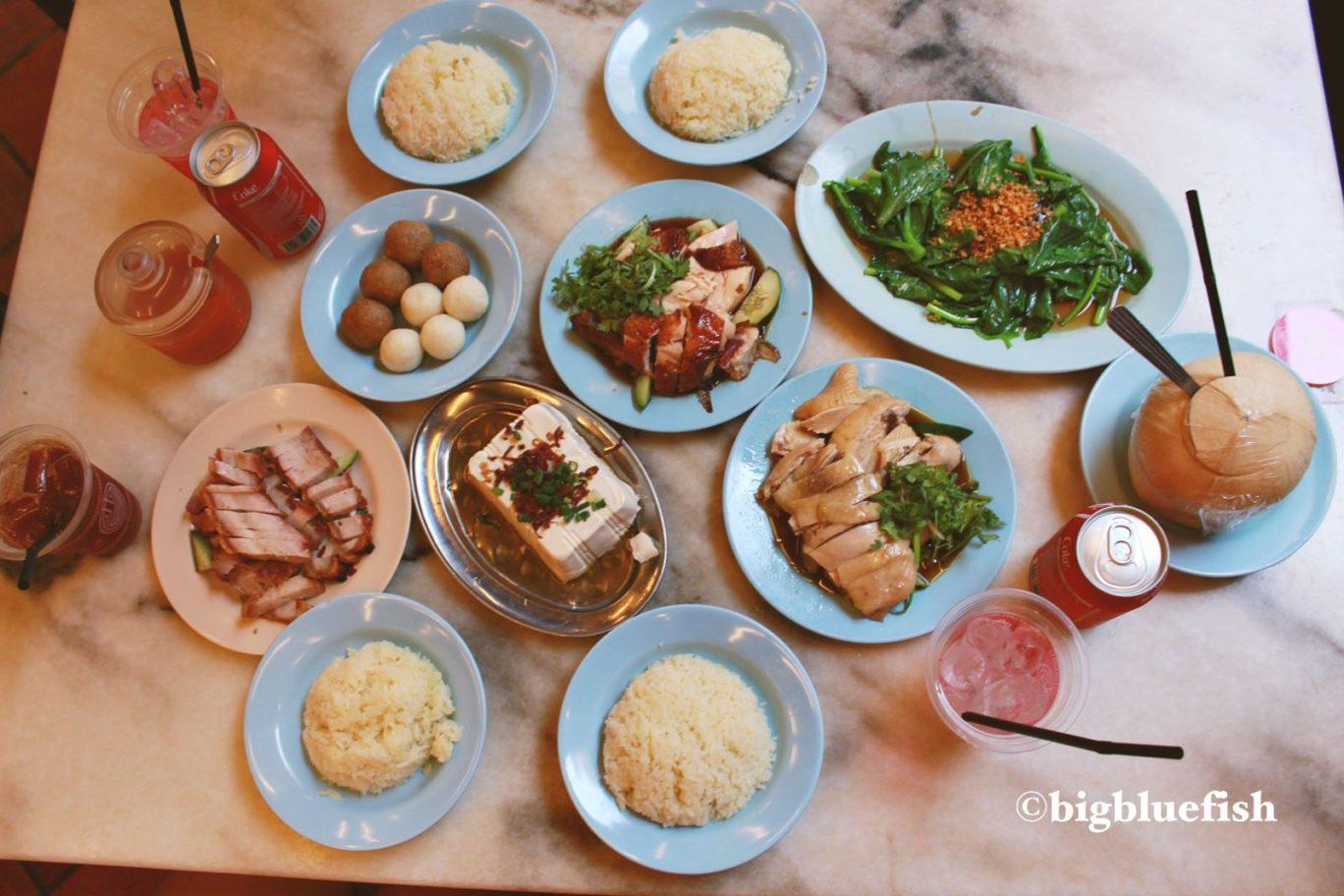 chicken rice, chicken rice balls at famosa restaurant in malacca