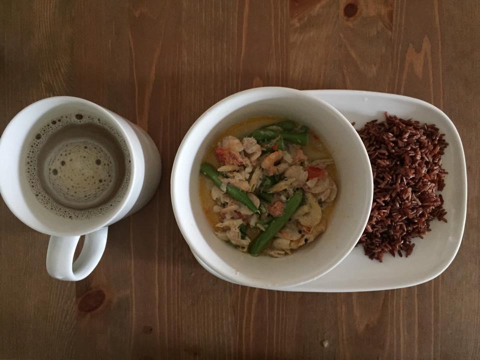 ginataang hipon at sitaw recipe with rice and coffee