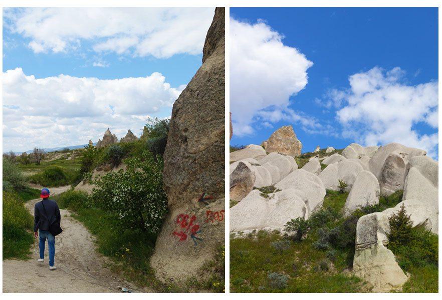walk tour to red valley rose valley cappadocia turkey tourist travel