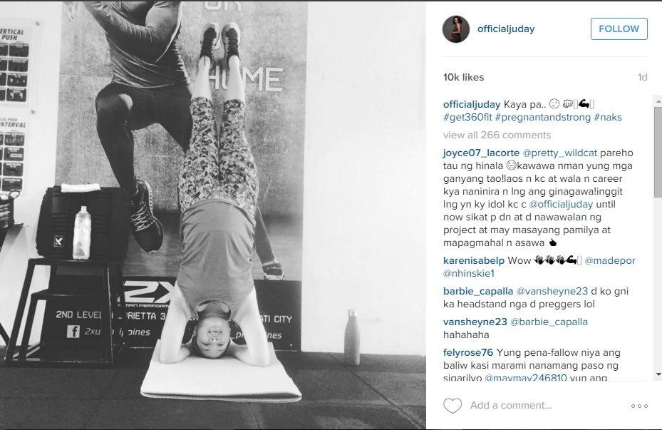 judy ann santos pregnant yoga headstand