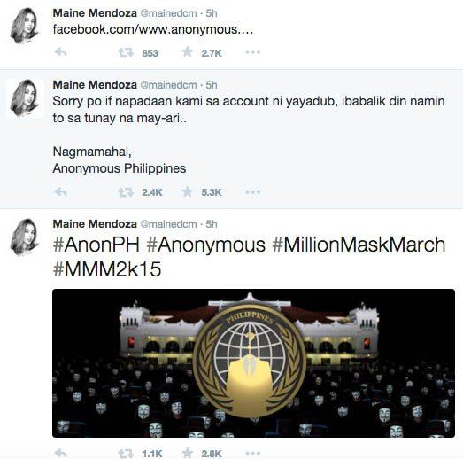 ALDub AlDub Nation Maine Mendoza Yaya Dub Twitter account Hacked Anonymous Philippines 1 copy