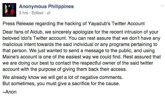 ALDub AlDub Nation Maine Mendoza Yaya Dub Twitter account Hacked Anonymous Philippines 2 copy