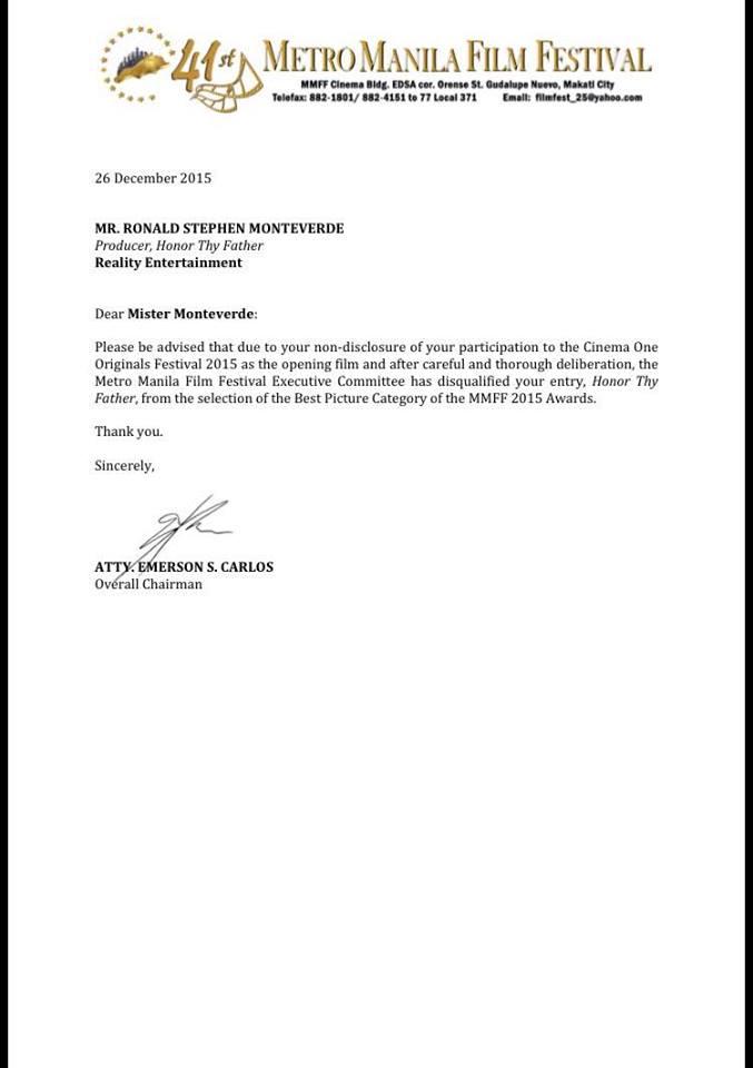 Honor Thy Father Disqualified Disqualification MMFF 2015 John Lloyd Cruz Dondon Monteverde 1