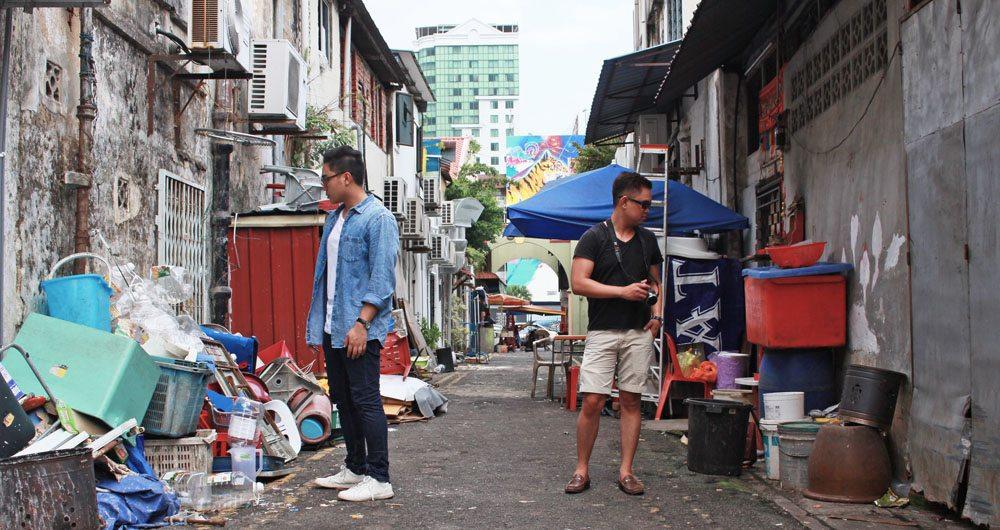 back streets of chinatown johor bahru garbage