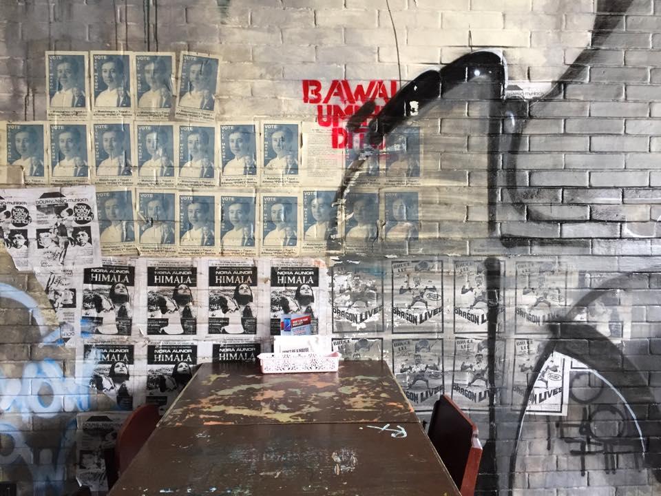 walls interiors vintage art at Sknita Street Foodz in Kapitolyo Pasig graffitti wall in restaurant philippines