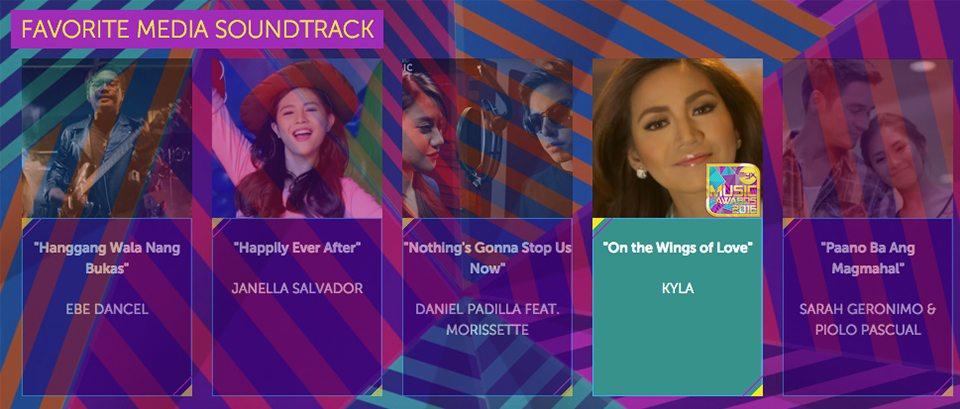 2016 Myx Music Awards Winners Favorite Media Soundtrack Kyla On The Wings of Love