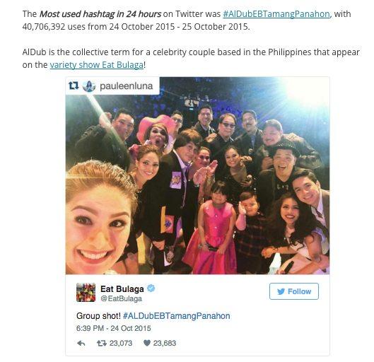ALDUB Eat Bulaga Tamang Panahon hashtag 41M tweets Guinness World Records Kalyeserye October 24, 2015 most used hashtag Alden Richards Maine Mendoza Yaya Dub Philippine Arena