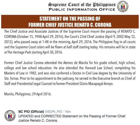 Former Chief Justice Renato Corona Dies 68 Cardiac Arrest 1