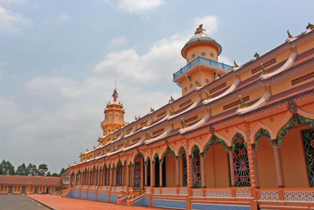 cao dai temple facade ho chi minh saigon vietnam