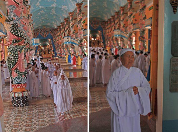 cao dai temple priests costume vietnam