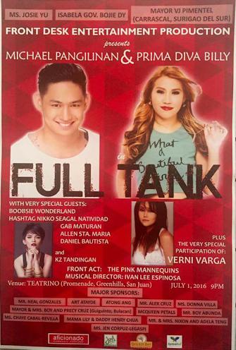 Michael Pangilinan Prima Diva Billy Full Tank Concert KZ tandingan