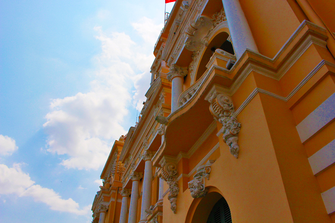 blue skies ho chi minh city palace government building
