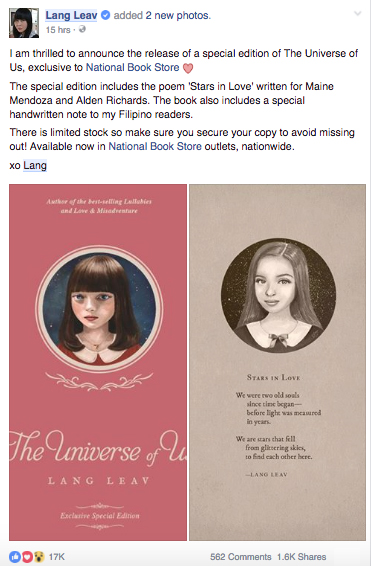 Lang Leav The Universe of Us Maine mendoza Alden Richards Aldub Poem National Bookstore