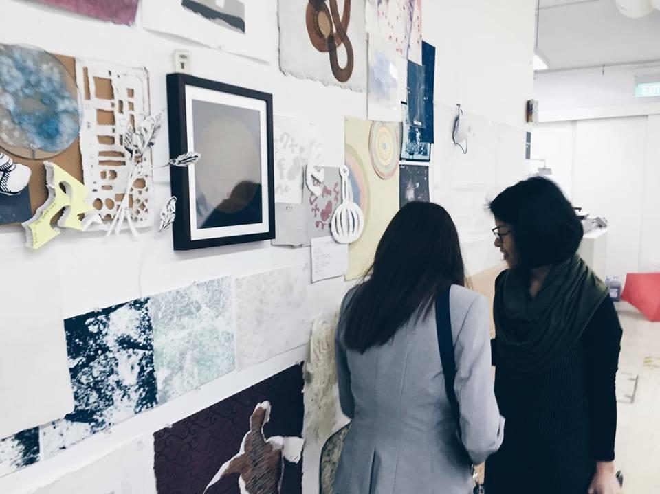 stpi gallery exhibit singapore lobby with marketing team tessa