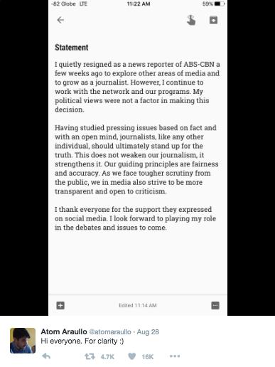 Atom Araullo Resigns Resignation News Reporter ABS-CBN 2