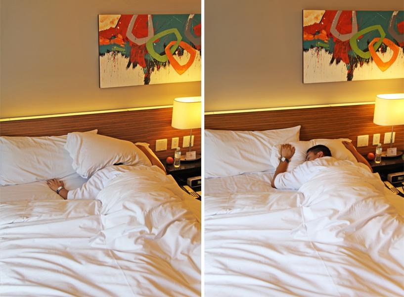 cozy double bed in sleeping bellevue hotel manila