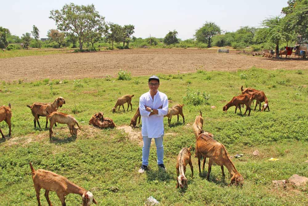 goat-sheperd-sell-jaipur-india-field-selfie